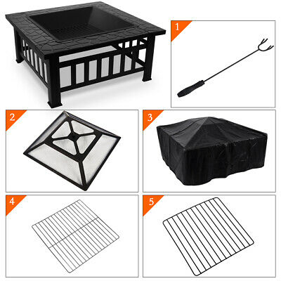 Nidouillet Fire Pit BBQ Courtyard Patio Square Metal Fire Stove Picnic,Cooking