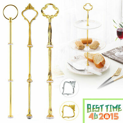 1/5/10 Set 3 Tier Cake Plate Stand Handle Fittings Silver/Gold for Tea Shop
