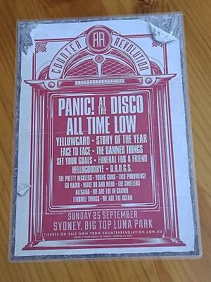 PANIC AT THE DISCO - ALL TIME LOW - Laminated Australia Sydney Tour Poster 2011