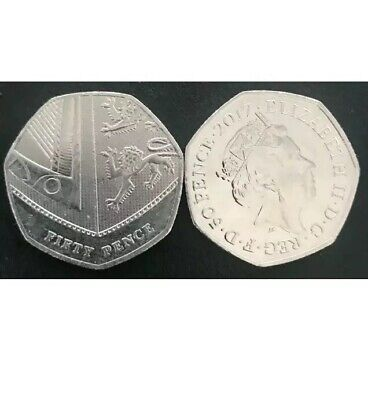 2017 50p,Royal Shield 50p Coin Fifty Pence Rare Coin ,low mintage,isaac newton.