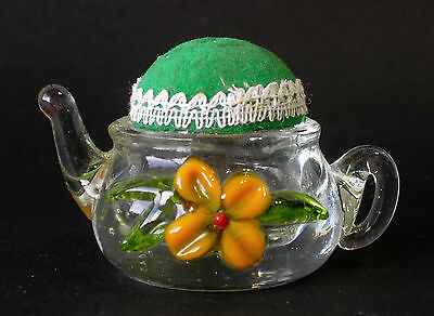 Novelty Glass Tea Pot Pin Cushion ~ Very good, pre-owned condition. Date unknown