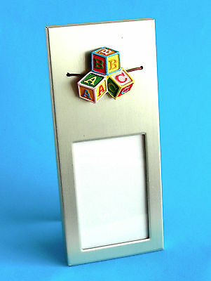ABC Blocks Pressed Metal Photo Frame ~ Like New, Pre-owned Condition