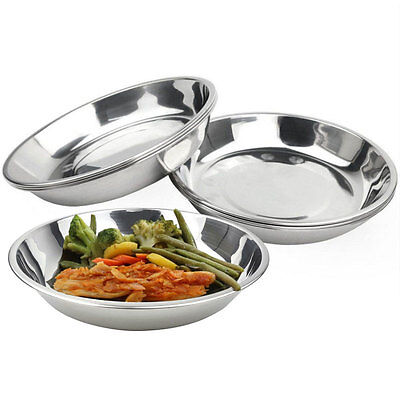 Silver Camping Stainless Steel Tableware Dinner Plate Food Container Clean Dish