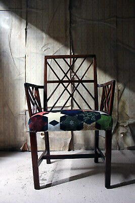 Antique George III Chinese Chippendale Mahogany & Velvet Cockpen Armchair c.1770