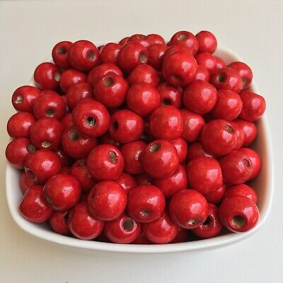 50X Red Wood Beads 12x11mm Round DIY Jewellery Making Macrame Craft Wooden Bead