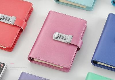 A6 LEATHER DIARY Writing Journal Notebook with Password Combinaton Lock Code