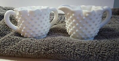 Vintage FENTON Art Hobnail Milk Glass Creamer & Sugar