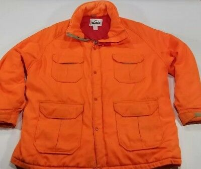 e916b739c230 Vintage 70 s Woolrich Hunting Jacket Coat Orange Blaze 4 Pocket White Label