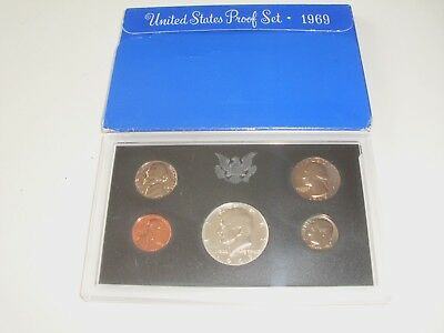 1969 S United States Proof Mint 5 Coin Set, Uncirculated