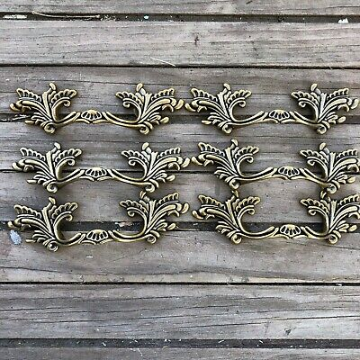 "3"" Center French Provincial drawer pulls Shabby Chic Handle Brass NEW Lot of 6"