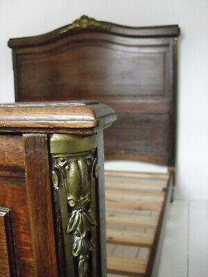 Antique French oak double bed