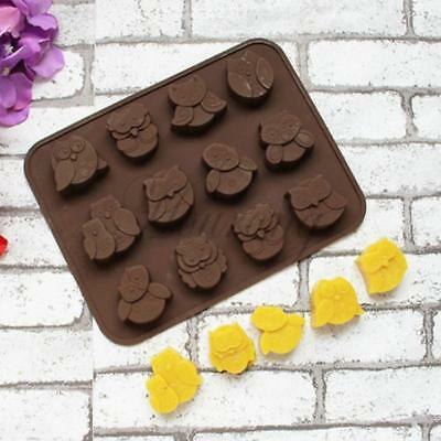 Silicone 12 Owl Cake Decorating Mould Candy Cookies Chocolate Soap Baking Mold C