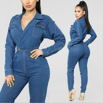 Damen Overall Denim Jumpsuit Catsuit Kombination Slim  Latzhose E2631 Blau