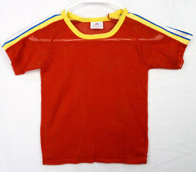 Vintage 70s Red Sheer Mesh Sports T-Shirt Boys 7 S Ringer Stripes Trim JR Knit
