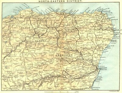 SCOTLAND. North-east District. Banff Elgin Aberdeen Kincardine 1887 old map