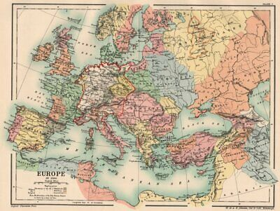 HOLY ROMAN EMPIRE. Europe in 1360 1902 old antique vintage map plan chart