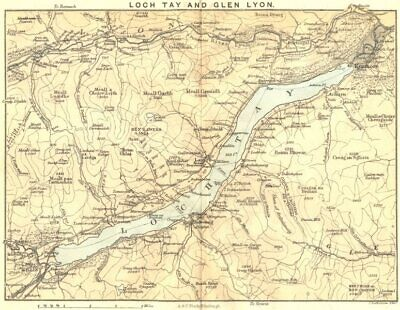 SCOTLAND. Loch Tay & Glen Lyon. Killin. 1887 old antique map plan chart
