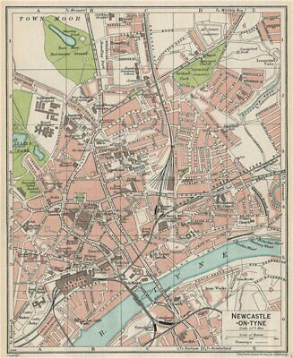 NEWCASTLE-ON-TYNE. Vintage town city map plan. Northumberland 1930 old