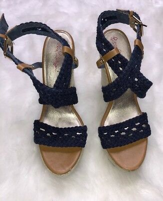 7e14065012 Lilly Pulitzer navy Wedge Espadrille Sandals 6.5 Lily Pulitzer Wedge  Espadrille