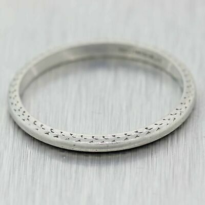 1930's Antique Art Deco 2mm Platinum Thin Stackable Engraved Wedding Band Ring 6