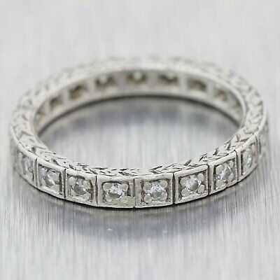 1930's Antique Art Deco Platinum Engraved .42ctw Diamond Eternity Wedding Band