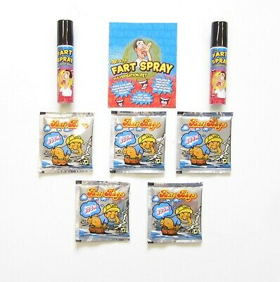 2 Cans Of Fart Spray & 5 Fart Bomb Bags  Combo  Stinky Smelly  Gag Gift Prank