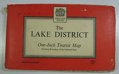 1963 Old Vintage OS Ordnance Survey One-Inch Tourist Map The Lake District
