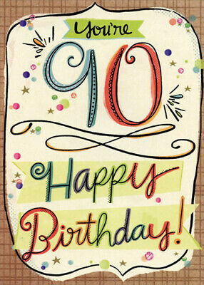 Colorful Letters With Brown Crosshatch Frame Age 90 90th Birthday Card