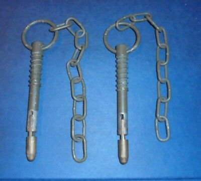 Army Trailer / Vehicle securing pin with chain. x 2 . Ex British Army.