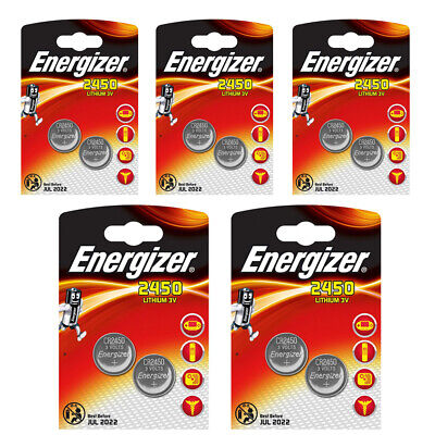 10 x Energizer CR2450 3V Lithium Coin Cell Battery 2450 DL2450 Longest Expiry