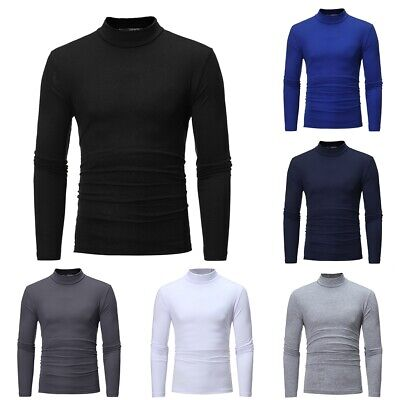 Mens Ski&Golf 300gsm Heavy Cotton Roll Ribbed Polo Funnel Neck Top Black White