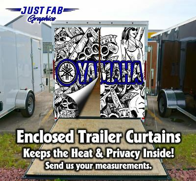 Enclosed Trailer Rear Door Yamaha CanAm Suzuki Kawasaki, KTM, Husqvarna Curtains