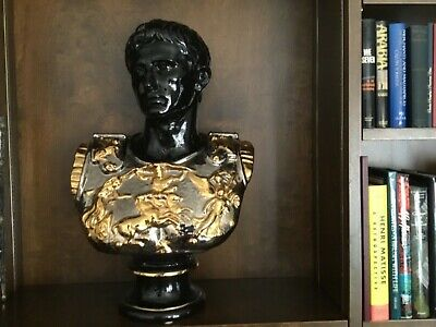 Carved Porphyry Bust Of Roman Emperor Signed