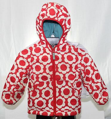Mini Boden Youth Girls Jacket Pink & White Flowers Fleece Lined Coat Size 3-4Y