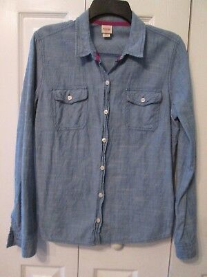 4869101fa8734 MOSSIMO Womans Long Sleeve Blue Denim Look Fitted Button Down Blouse Size L  EUC