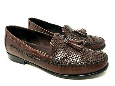 70c0c916c00e5 COLE HAAN WOMENS Brown Leather Weave Tassel Loafers Size 9.5 B Italy