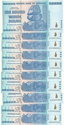 2008 Zimbabwe One Hundred Trillion Dollars Notes-10 Consec Serial #s!! Crisp Unc