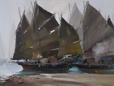 """Tinyan Chan FCA Oil Painting Chinese Chinese Junks in Hong Kong 30x40"""" Canadian"""
