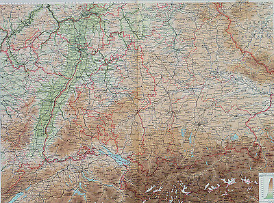 Map of Germany Southern Section Large 1922 Original Antique