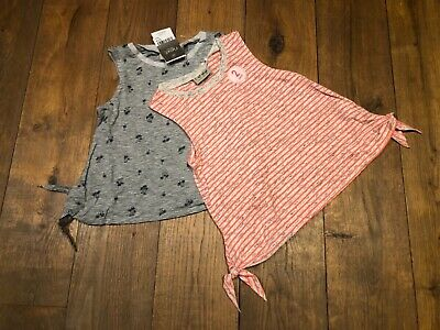 BNWT Next Girls Coral/Grey Tops T-Shirts 2 pack BNWT Size  8 years Palm Tree