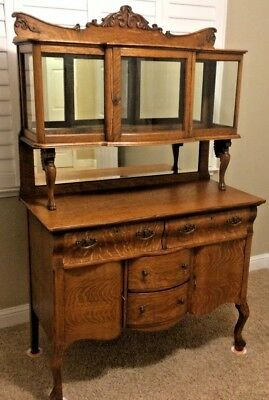 antique american oak sideboard buffet hutch furniture mirrors glass rh picclick com  sideboard buffet cabinets