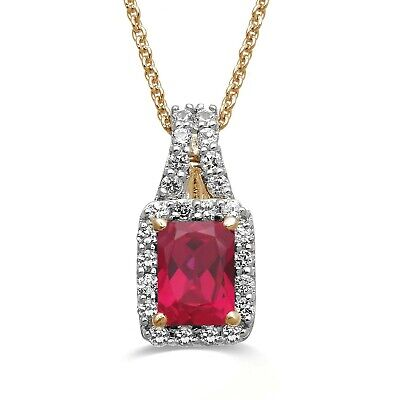 Jewelili 14K Yellow gold Ruby Octogon With Created White Sapphire Pendant Nec...