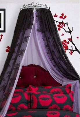 Queen Size Purple Lace Ceiling Mosquito Net Bedding Bed Curtain Netting Canopy