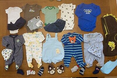 8b6f26b830a5 LOT OF 20 NWT used Baby Boy Clothes Onesies 0-3 months Newborn ...