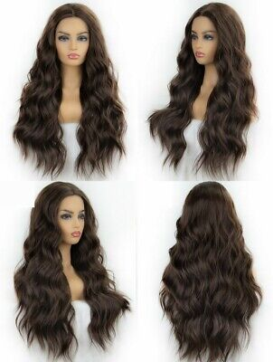 "AU 24"" Lace Front Wig Fashion Darkest Brown Heat Resistant Hair Long Wavy Curly"