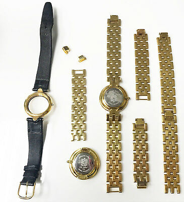 4b25c2b22a3 Lot of Swiss by Paolo Gucci Black Dial Gold Tone Leather Gold Band Watch  Case