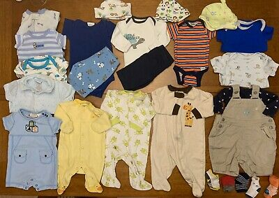 4bf2237e9a81 LOT OF 20 Baby Boy Clothes Onesies 0-3 months Newborn Accessories ...