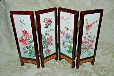 Chinese 4 Fold Miniature Table SCREEN Milk Glass Panels Mtn. Water & Floral View