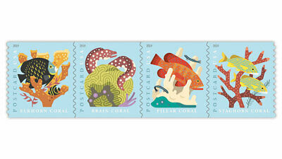 2019 US Stamp -  Coral Reefs - Coil Strip of 4 - Scott# 5167-5170
