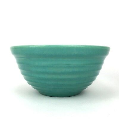 """Vintage BAUER Bowl 12 Turquoise Green BEEHIVE Ringware Pottery 9.5 x 4.5"""" USA"""